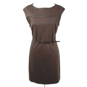 Studio M Brown Belted Tweed Sheath Dress NWT